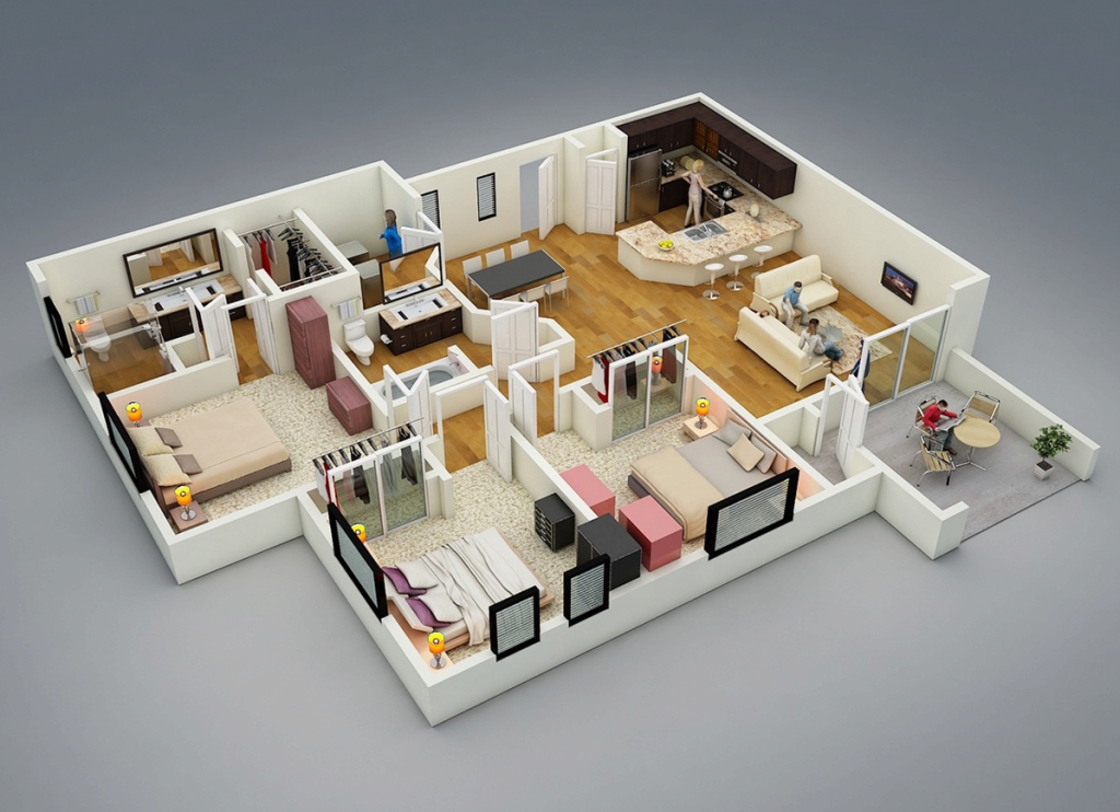 Amazing 25 More 3 Bedroom 3D Floor Plans | Pinterest | 3D, Bedrooms And 3D within House Design Plans