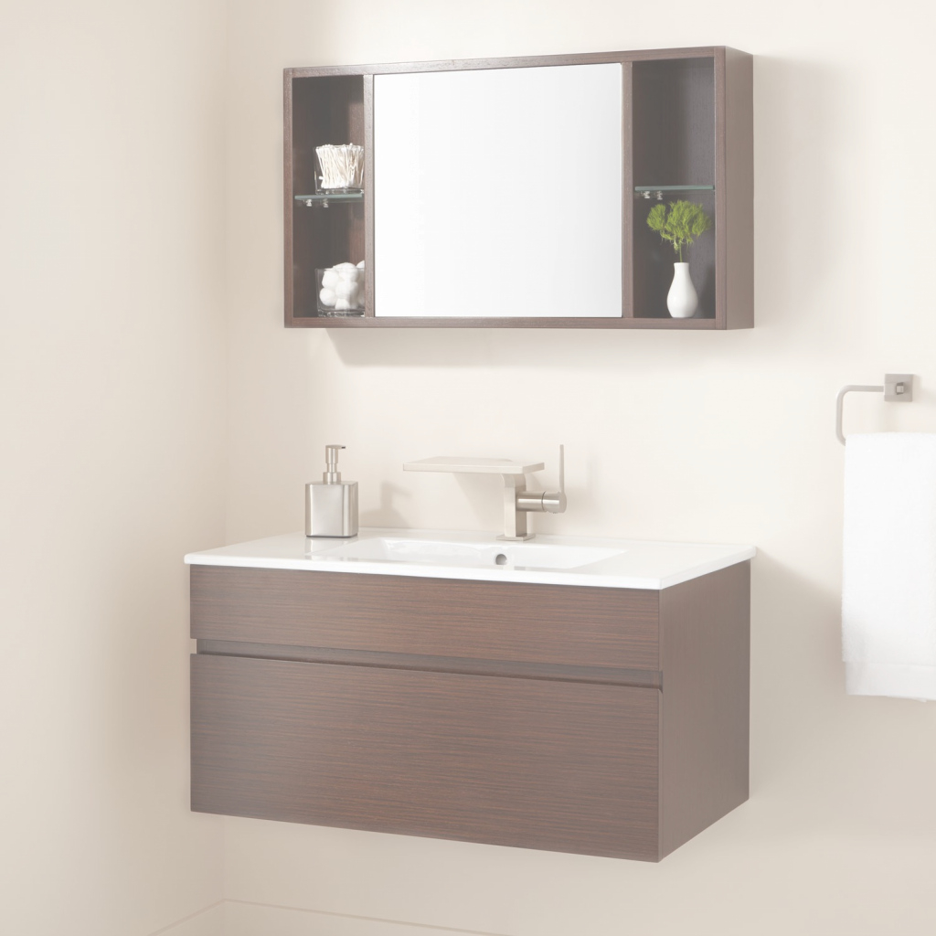 "Amazing 33"" Dimitri Wall-Mount Vanity And Mirrored Storage - Bathroom within High Quality Bathroom Sink Mirror"