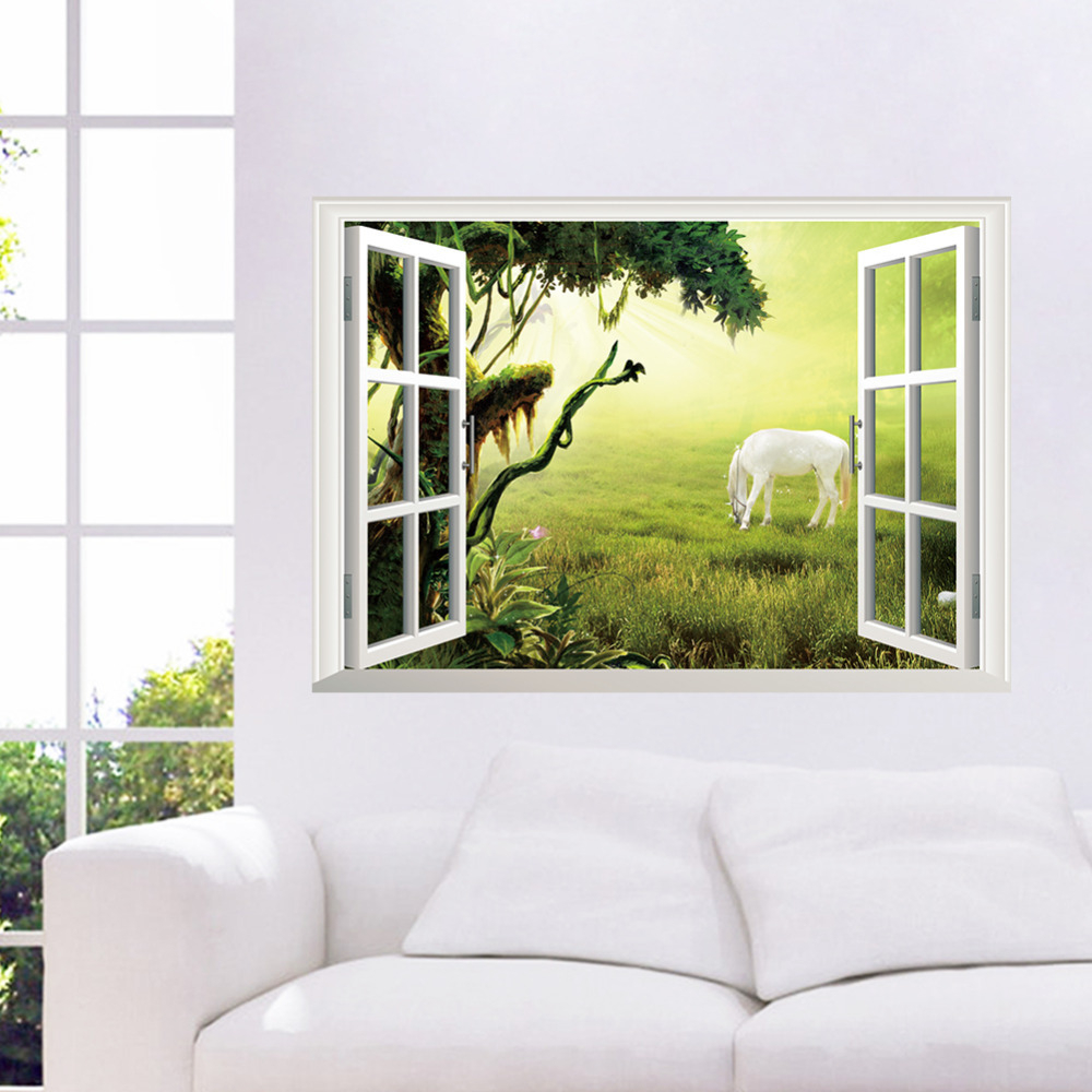 Amazing 3D Window View Scenery Wall Sticker Living Room Decals Removable in Inspirational Living Room Decals