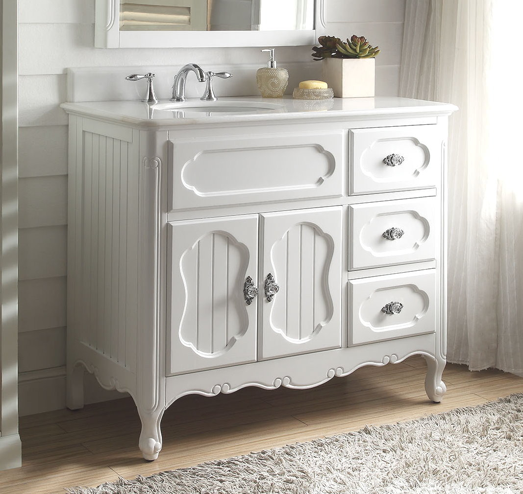 "Amazing 42 Inch Bathroom Vanity Cottage Beadboard Style White Color (42""wx21 within Lovely 42 In Bathroom Vanity"