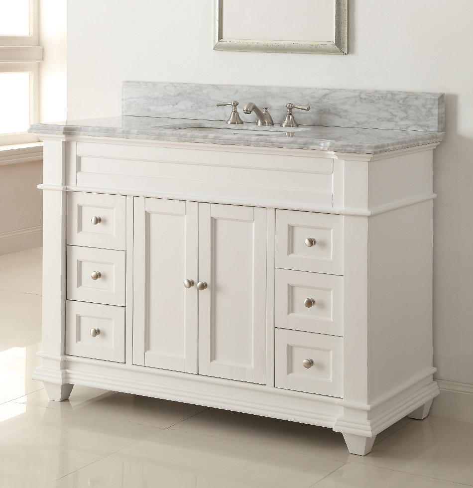 Amazing 48 Inch White Shaker Bathroom Vanity Cottage Beach Style Carrara pertaining to Awesome 36 In Bathroom Vanity With Top