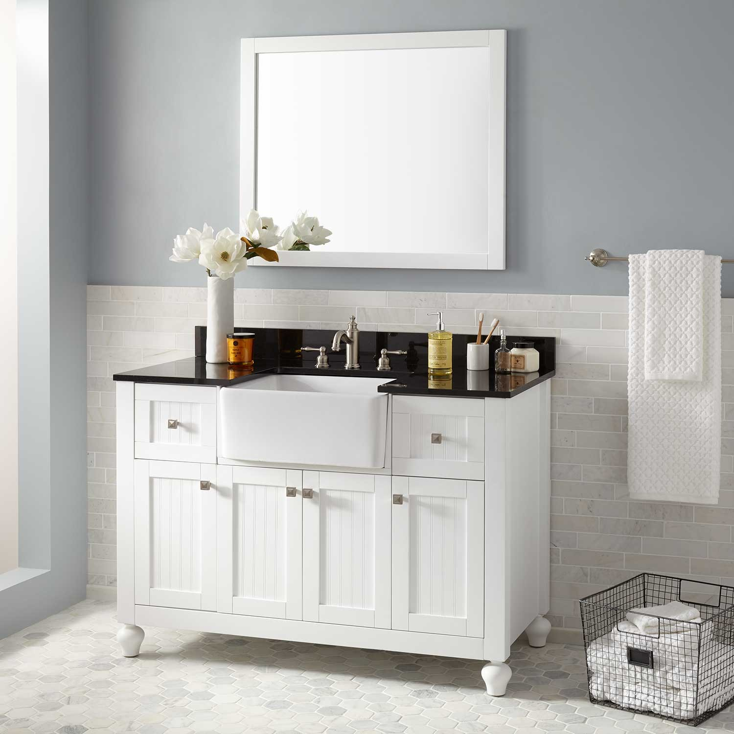 "Amazing 48"" Nellie Farmhouse Sink Vanity - White - Bathroom within Good quality Bathroom Farm Sink Vanity"