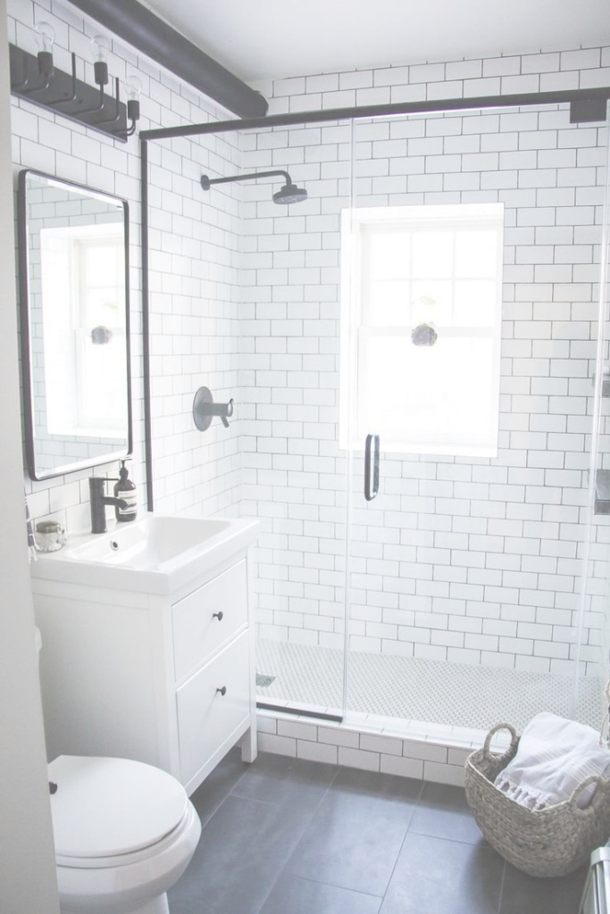 Amazing A Modern Meets Traditional Black And White Bathroom Makeover intended for Lovely White And Grey Bathroom Ideas