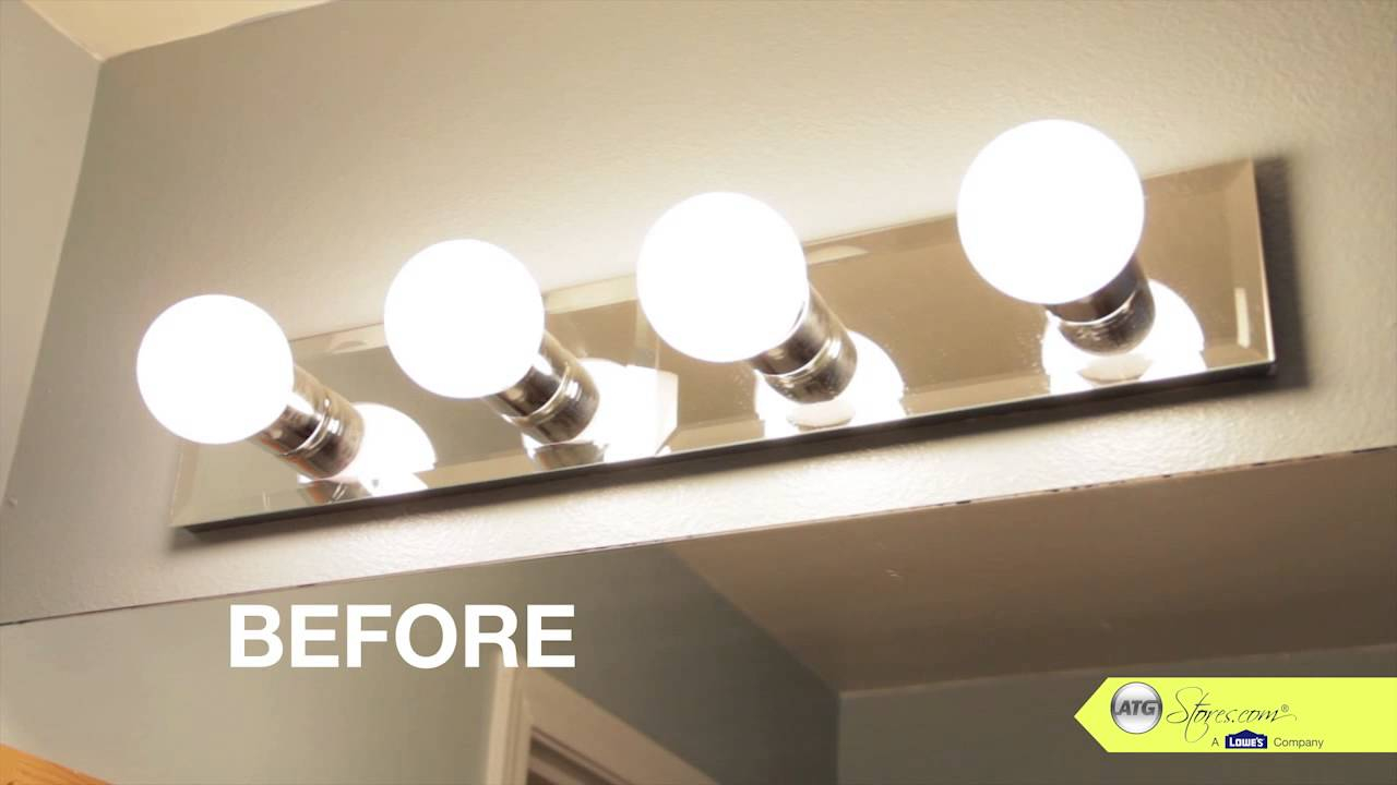 Amazing Bathroom Makeover Tip, Replace Your Bathroom Lighting - Youtube for Review Bathroom Vanity Light Bulbs