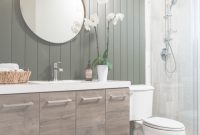 Amazing Bathroom Makeover Using Vertical Shiplap Appearance Boards with Unique Bathrooms With Shiplap