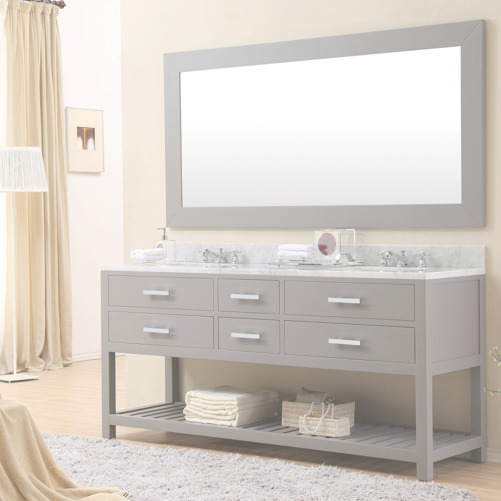 Amazing Cadale 72 Inch Gray Finish Double Sink Bathroom Vanity One Mirror with High Quality Bathroom Sink Mirror