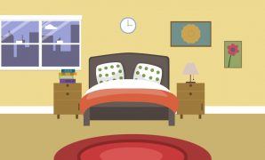 Amazing Cartoon Modern Colorful Bedroom Animation With Space For Your Text for Beautiful Bedroom Cartoon