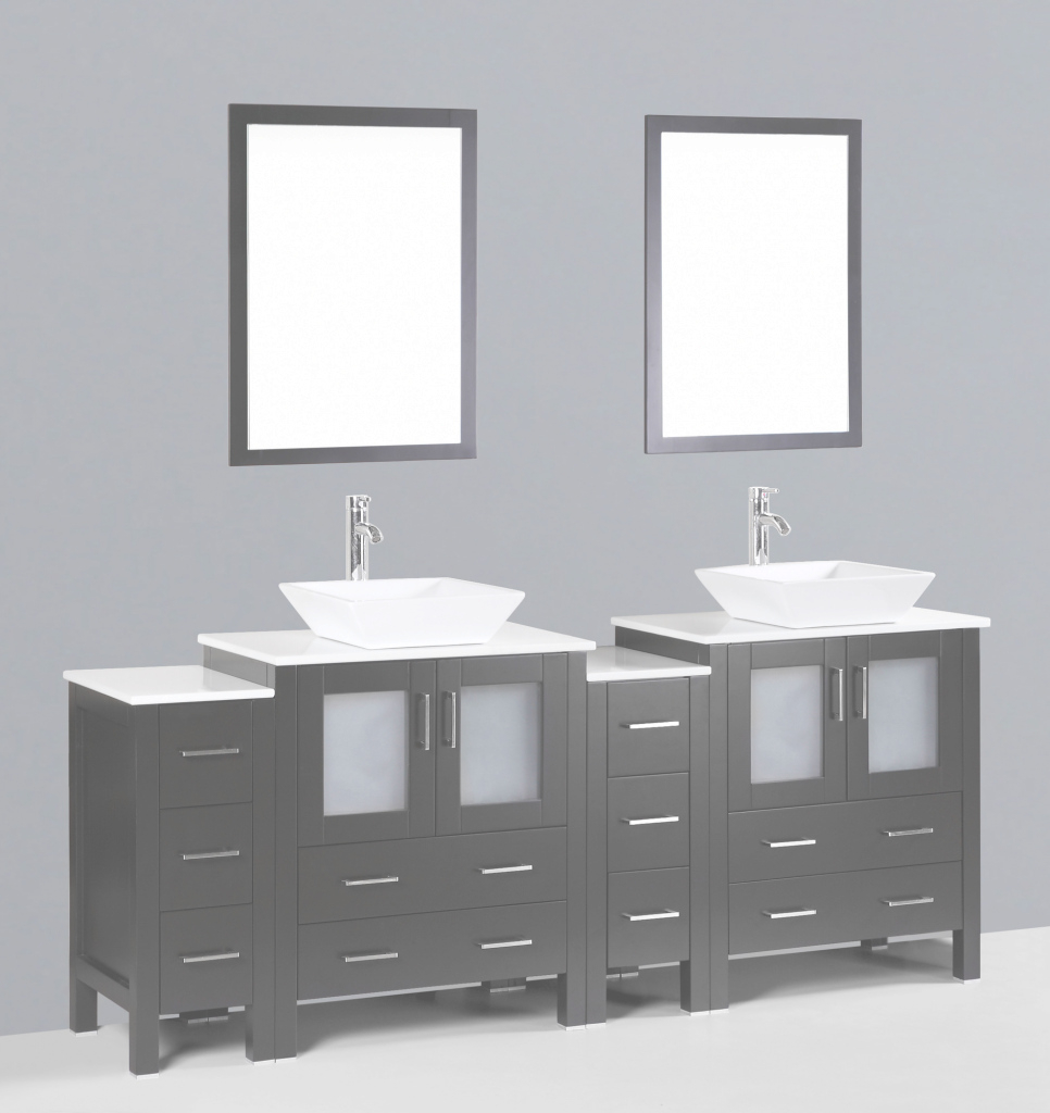 Amazing Contemporary 84 Inch Espresso Square Vessel Sink Bathroom Vanity Set pertaining to Best of Bathroom Vanity Set With Mirror