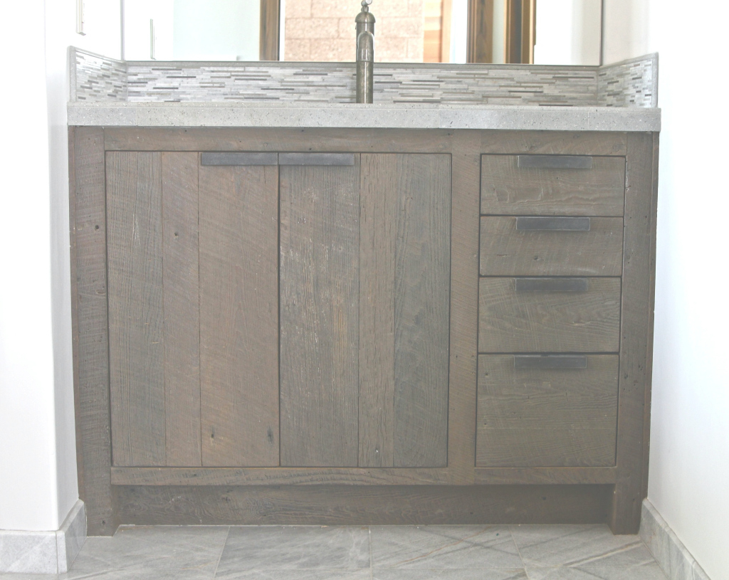 Amazing Contemporary Reclaimed Wood Bathroom Vanities Regarding Bathrooms for Weathered Wood Bathroom Vanity