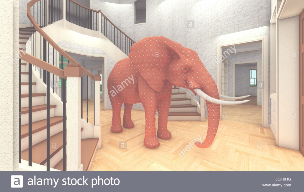 Amazing Elephant In The Living Room 3D Rendering Stock Photo: 147853484 - Alamy in The Elephant In The Living Room
