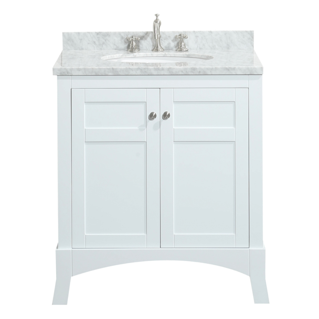 "Amazing Eviva New York 30"" White Bathroom Vanity, With White Marble Carrera intended for Inspirational 30 White Bathroom Vanity"