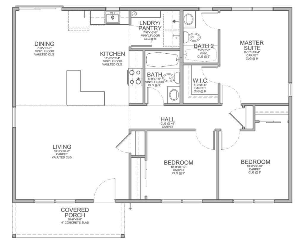Amazing Floor Plan For Affordable 1,100 Sf House With 3 Bedrooms And 2 with regard to Beautiful Small Three Bedroom House Plans