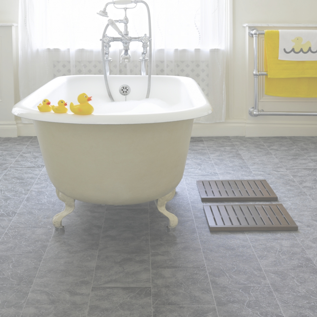 Amazing Flooring Ideas: Grey Bathroom Cork Flooring And White Clawfoot in Cork Flooring For Bathroom