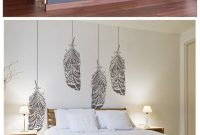 Amazing Forest Feather Stencil – Scandinavian Feather Wall Decal And Wall with regard to Diy Wall Painting Ideas