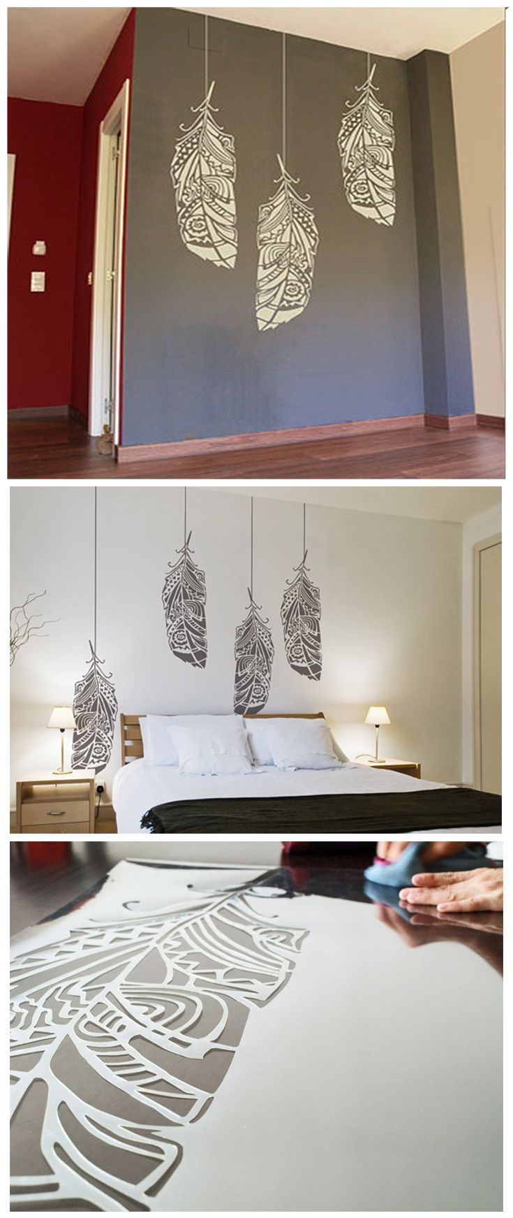 Amazing Forest Feather Stencil - Scandinavian Feather Wall Decal And Wall with regard to Diy Wall Painting Ideas