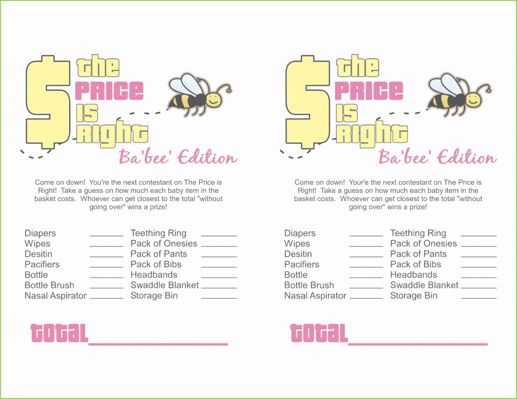 Amazing Free Baby Shower Game Templates New Free Printable Price Is Right with Baby Shower Price Is Right