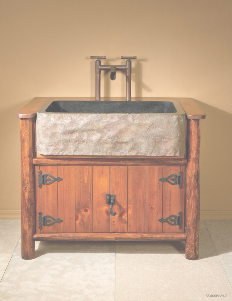 Amazing Home Design : Farmhouse Sink Bathroom Vanity Rustic Wood With Stone intended for Set Apron Sink Bathroom Vanity