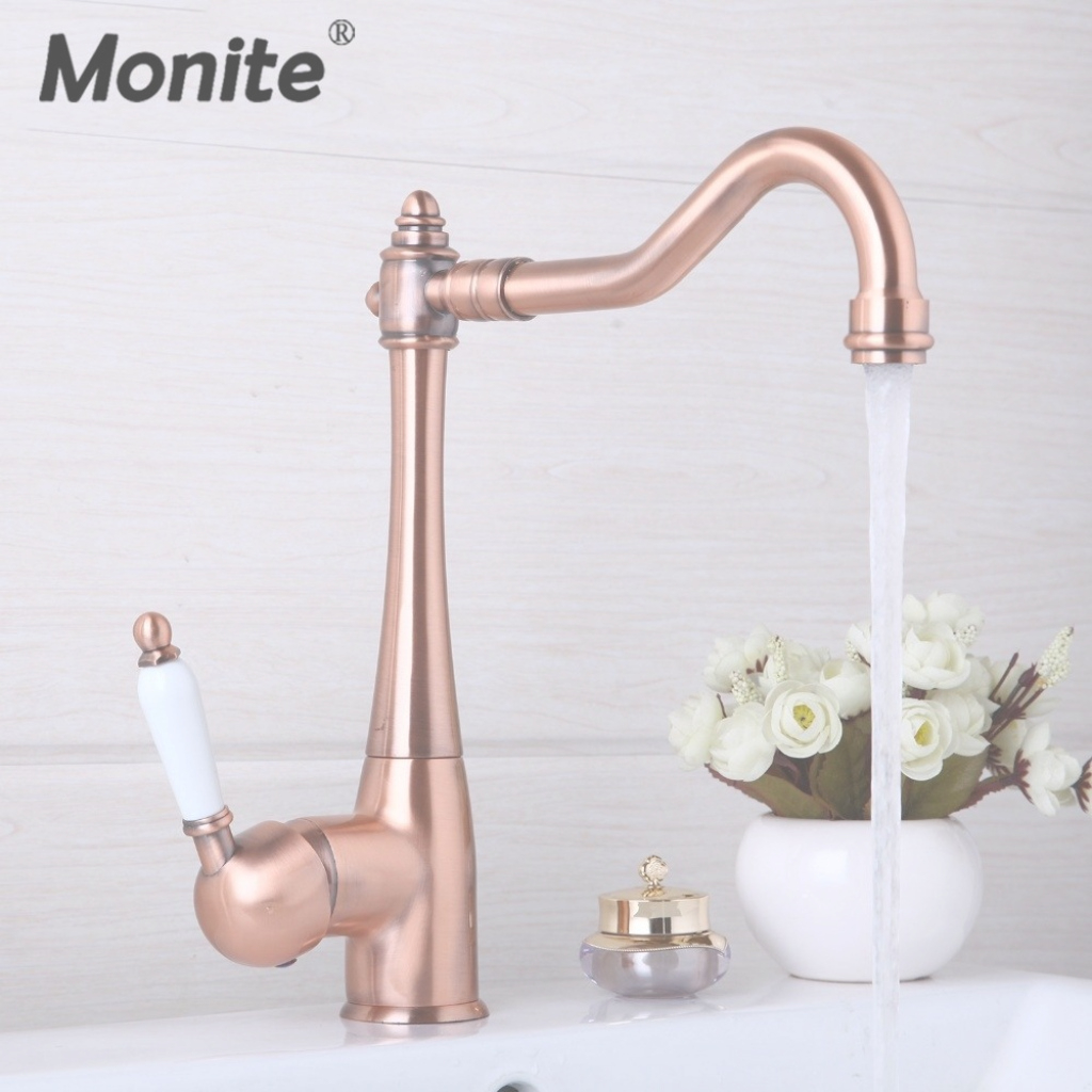 Amazing Kitchen Faucets Swivel Antique Copper Deck Mounted Mixer Tap inside New Copper Faucet Bathroom