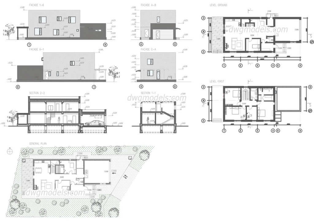 Amazing Modern House Autocad Plans, Drawings Free Download inside Modern House Plans Free Download