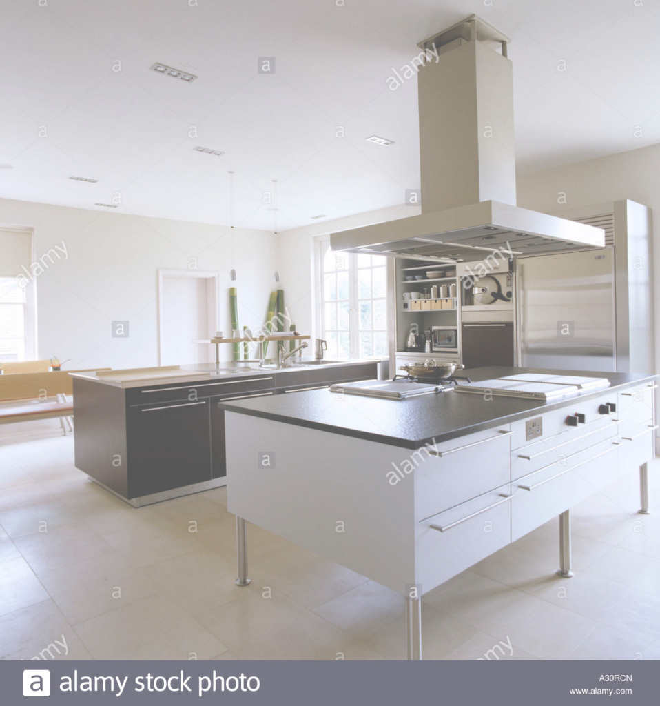 Amazing Modern Kitchen With Island And Large Extractor Fan Stock Photo inside Modern Kitchen With Island