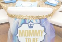 Amazing Mommy To Be Sign For Chair Back At Baby Shower. Dining Tables At Fig with regard to Royal Blue And Gold Baby Shower Ideas