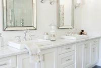 Amazing Neutrals + A Pop Of Pink Win In This Blogger Home | Pinterest inside Best of Shaker Bathroom Cabinets