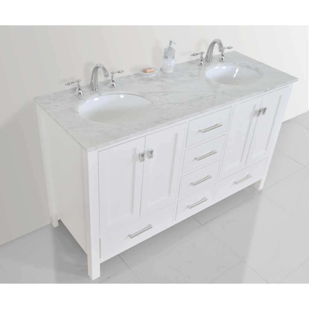 Amazing Shop 60-Inch Malibu Pure White Double Sink Bathroom Vanity Cabinet with Luxury 59 Inch Bathroom Vanity