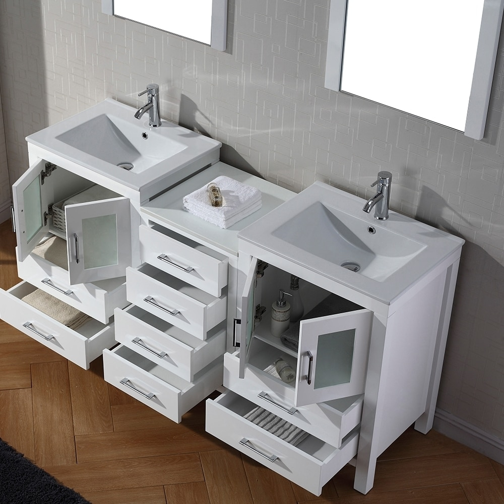 Amazing Shop Virtu Usa Dior 66 Inch Double Sink Vanity Set In White - Free regarding 66 Inch Bathroom Vanity