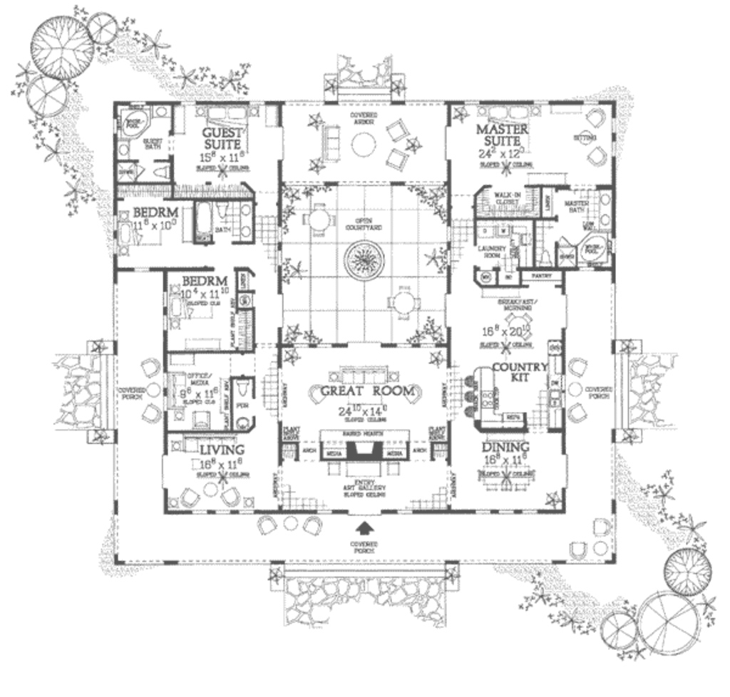 Amazing Spanish Home Plans With Courtyards House Plan Floor Center Courtyard for Review Hacienda House Plans Center Courtyard Image