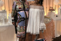 Amazing Splurge: Jessica Dime's Baby Shower Versace Angel Print Dress in What To Wear At A Baby Shower