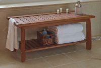 Amazing The Brazilian Eucalyptus Bathroom Bench – Hammacher Schlemmer | Bath with Bathroom Bench Ideas