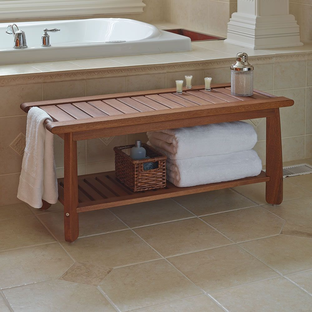 Amazing The Brazilian Eucalyptus Bathroom Bench - Hammacher Schlemmer | Bath with Bathroom Bench Ideas