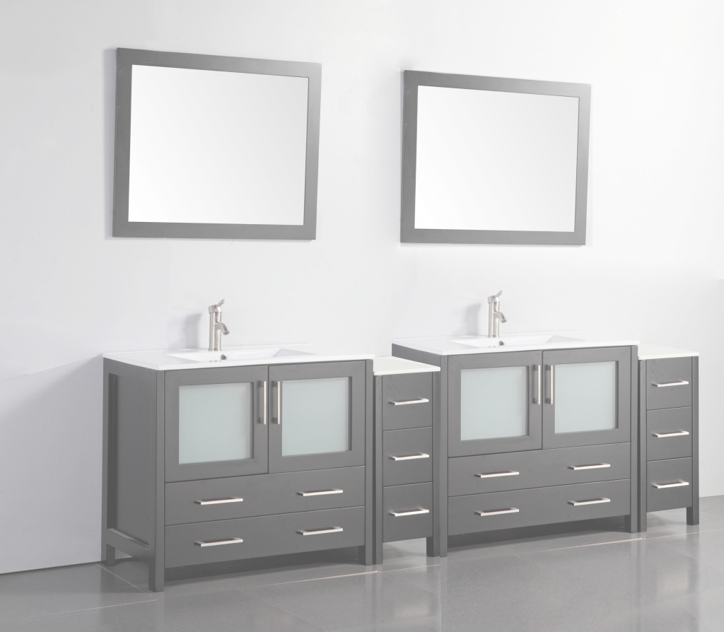 "Amazing Vanity Art 96"" Double Bathroom Vanity Set With Mirror 