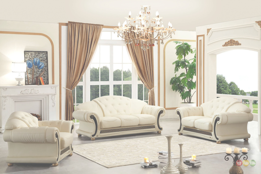 Amazing Versace Cleopatra Cream Italian Top Grain Leather Beige Living Room within Elegant Beige Living Room Set
