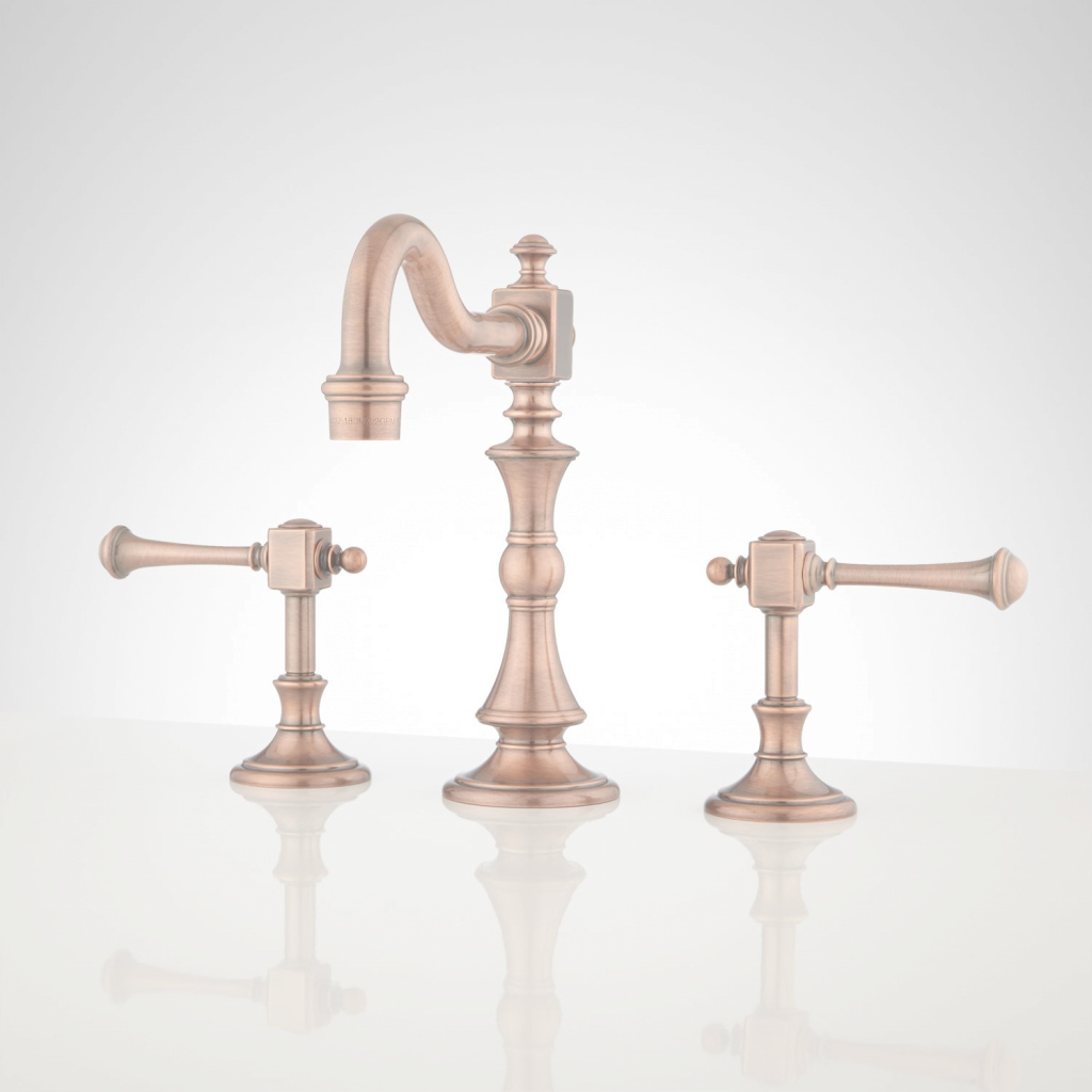 Amazing Vintage Widespread Bathroom Faucet - Lever Handles - Bathroom intended for Copper Faucet Bathroom