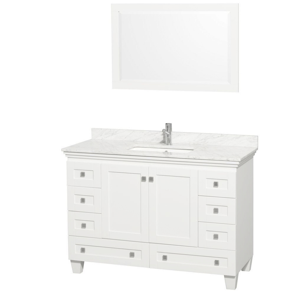 Amazing Wyndham Collection Acclaim 48 In. Vanity In White With Marble Vanity in 48 Inch Bathroom Vanity With Top