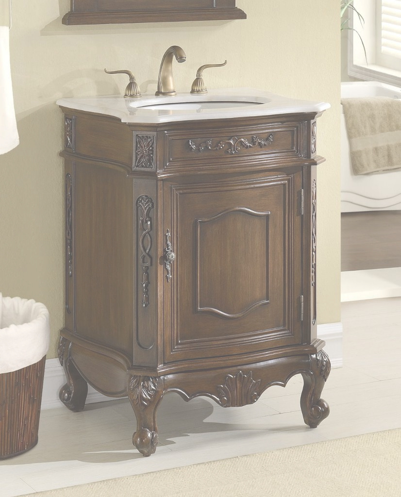"Beautiful 24"" Classic Petite Powder Room Debellis Bathroom Sink Vanity inside Petite Bathroom Vanity"