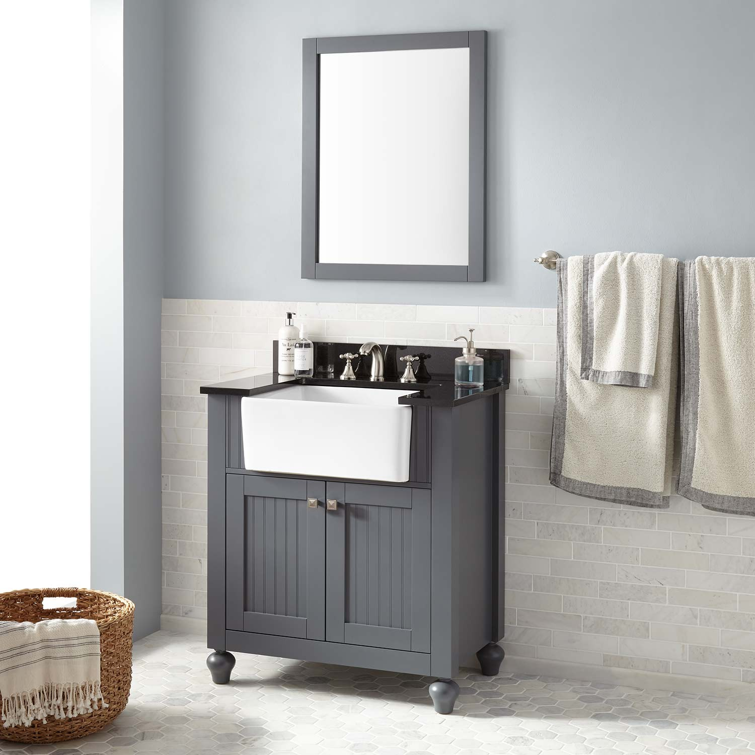 "Beautiful 30"" Nellie Farmhouse Sink Vanity - Dark Gray - Bathroom inside New Farmhouse Sink In Bathroom"