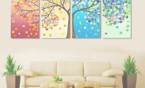 Beautiful 4 Piece Frameless Colourful Leaf Trees Canvas Painting Wall Art throughout Inspirational Wall Paintings For Living Room