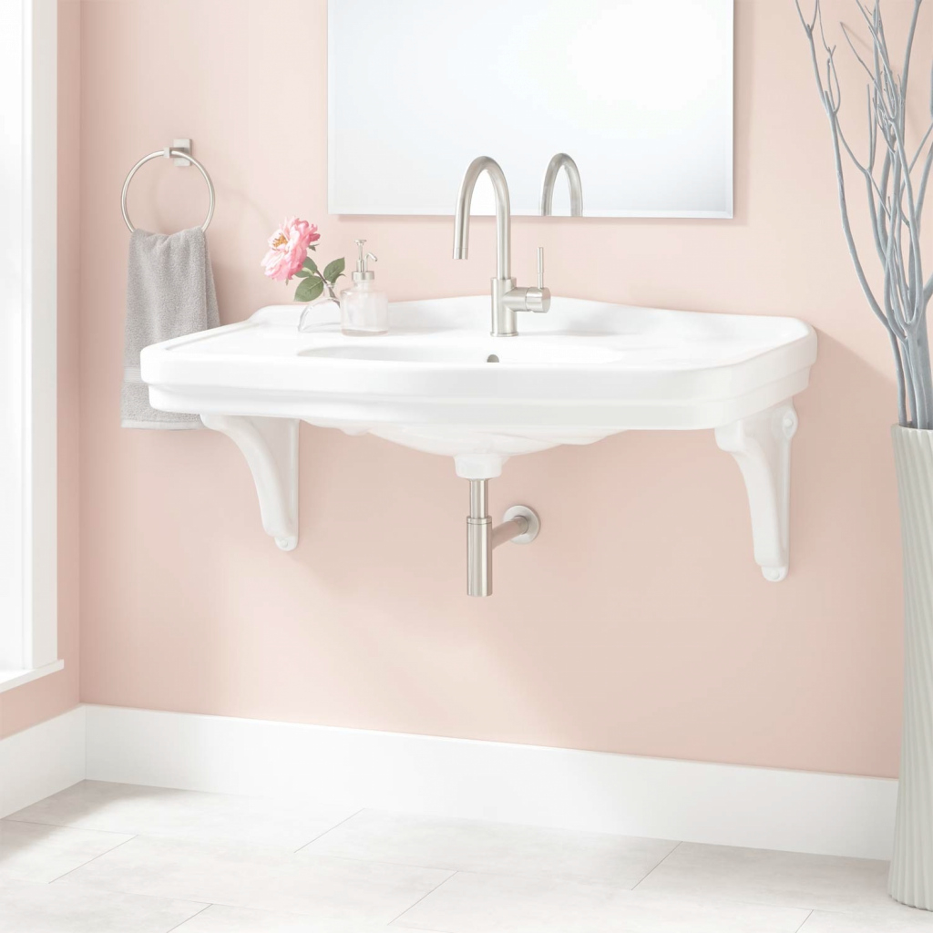 "Beautiful 42"" Peloso Porcelain Wall-Mount Bathroom Sink With Porcelain intended for Wall Mount Bathroom Sink"