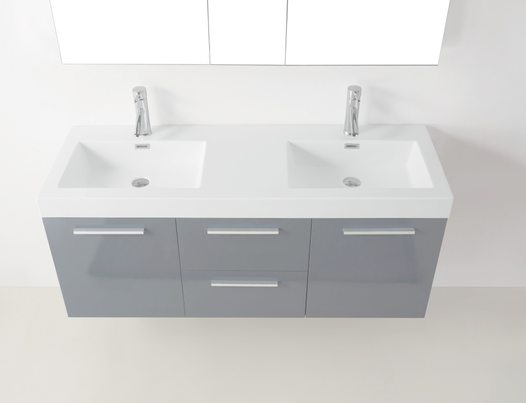 "Beautiful 54"" Virtu Midori Jd-50154-Gr Double Sink Bathroom Vanity - Grey for 54 Bathroom Vanity"