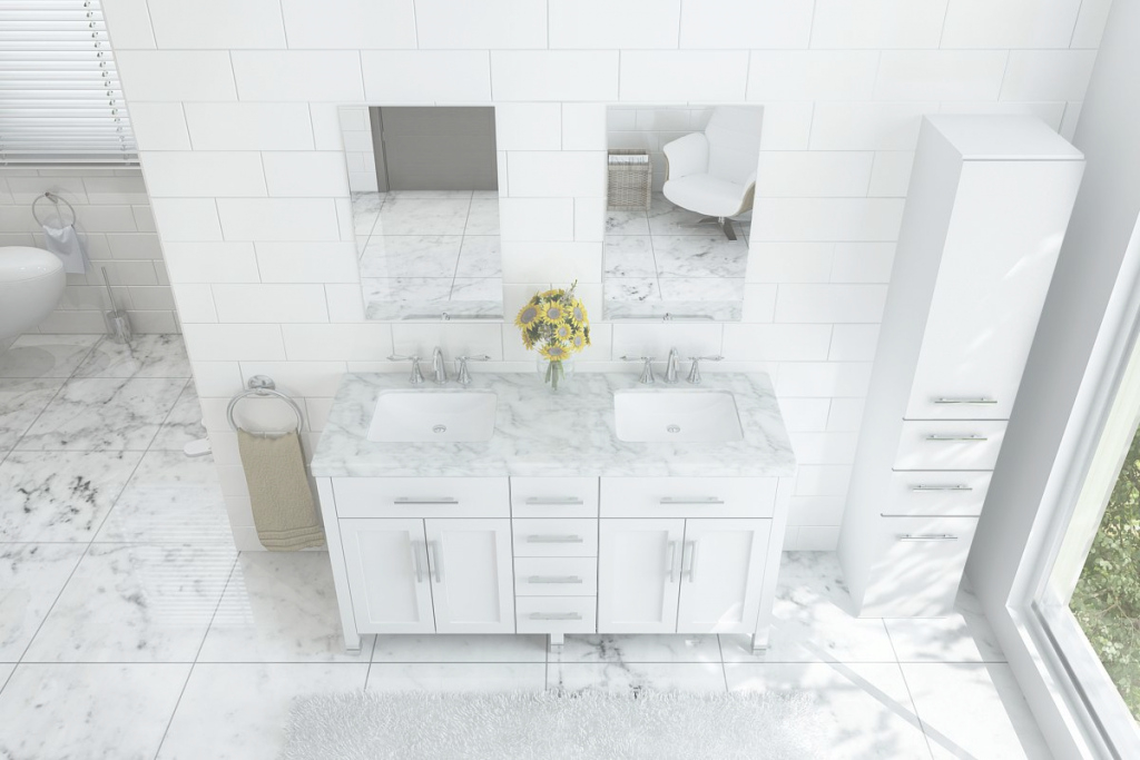 "Beautiful 59"" Boardwalk Double Bath Vanity With 5Cm Carrara Marble Top with Fresh Marble Bathroom Vanity"
