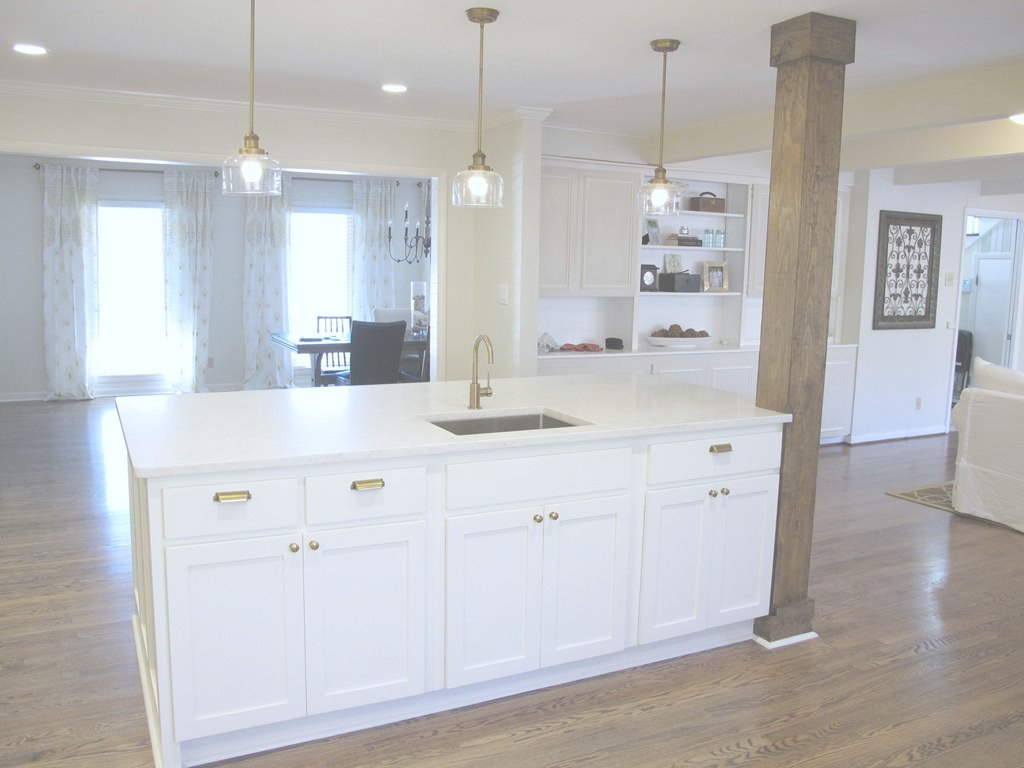 Beautiful 8X4 Kitchen Island With Bar Sink, Stained Wood Column, Quartz with regard to Unique Kitchen Island With Columns