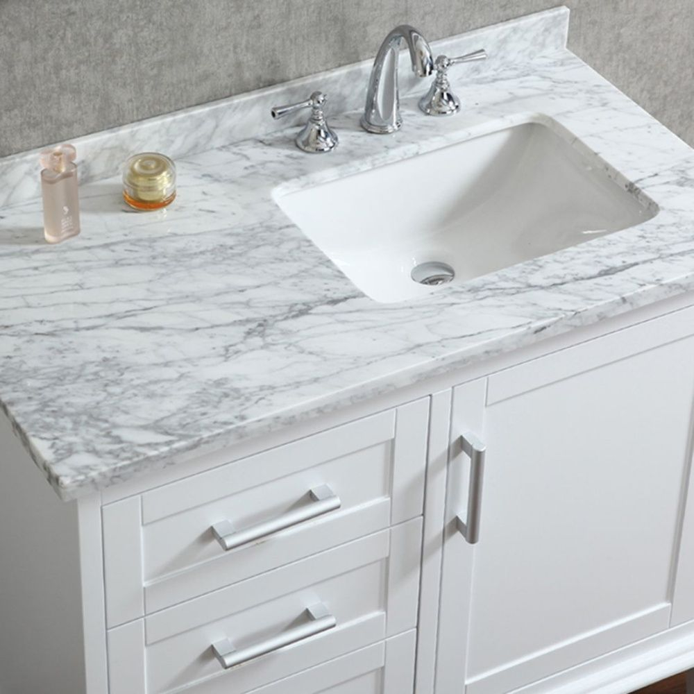 Beautiful Ace 42 Inch Single Sink White Bathroom Vanity With Mirror | Small for 42 In Bathroom Vanity