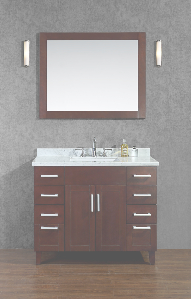 "Beautiful Arielseacliff Frampton 42"" Single-Sink Bathroom Vanity Set regarding Best of Bathroom Vanity Set With Mirror"