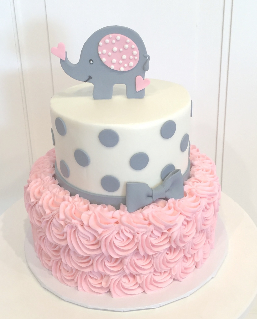 Beautiful Baby Shower Cake With Elephant On Top The Cake Is A Pink Rosette with regard to Lovely Baby Girl Shower Cake Ideas