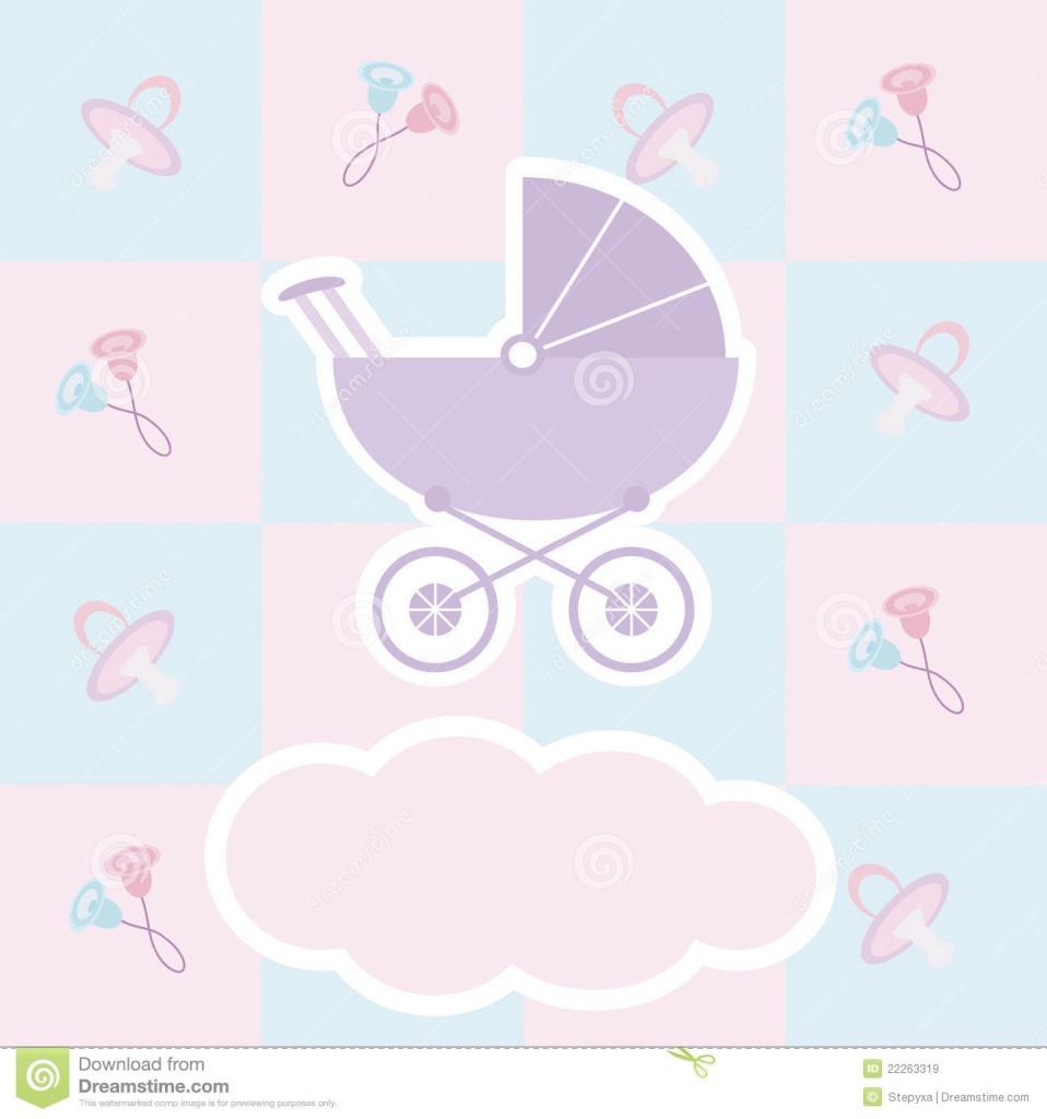 Beautiful Baby Shower Card Stock Illustration. Illustration Of Carriage - 22263319 throughout New Baby Shower Wallpaper