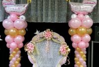 Beautiful Baby Shower Chair And Balloon Columns | Shower Chair | Pinterest within Sillas Para Baby Shower