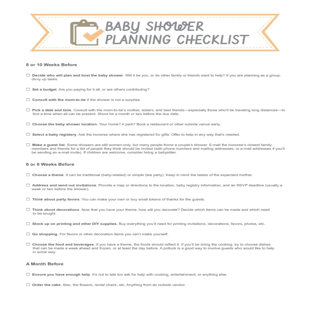 Beautiful Baer Gift Registry Checklist Walmart Basket Printable Present With with regard to Baby Shower Checklist Pdf