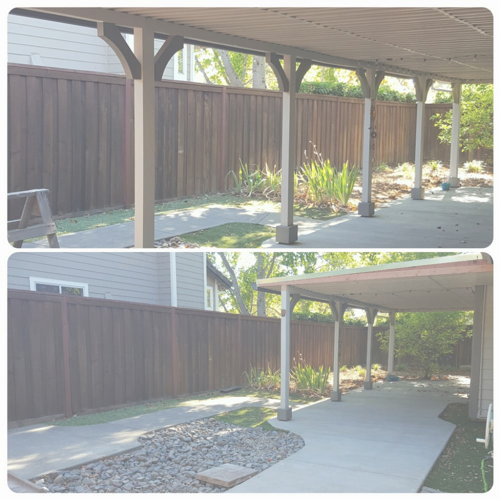 Beautiful Before And After Of Our Backyard Patio Overhang Removal. We Removed for Backyard Builders